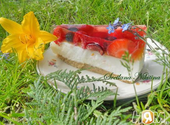Рецепт Чизкейк с фруктами и желе
