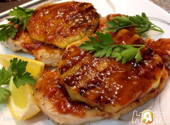 Свиной стейк-гриль с ананасом