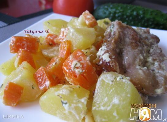 Свиные ребрышки с картофелем в горшочках