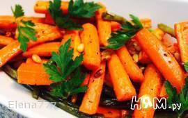 Гарнир из моркови и стручковой фасоли