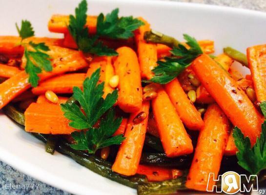 Рецепт Гарнир из моркови и стручковой фасоли