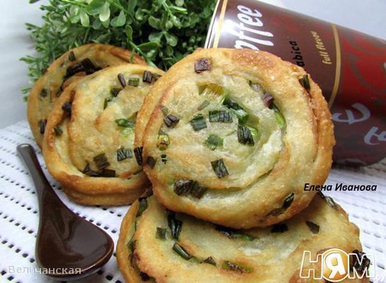 Рецепт Слоеные лепешки с зеленым луком