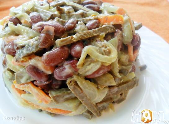 Рецепт Салат из печени с фасолью