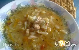 Овощной суп с рисом и куриным филе