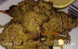 Печень куриная, тушеная с карри