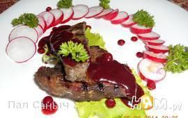Лось-гриль под бруснично-можжевеловым соусом