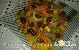 Салат Мясной с овощами