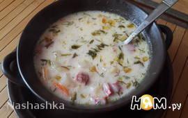 Суп с московской колбасой и плавленным сыром
