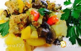 Свинина с овощами и грибами, запеченная в рукаве
