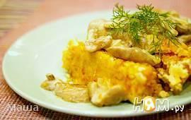 Суфле из овощей под маслятами в сметане