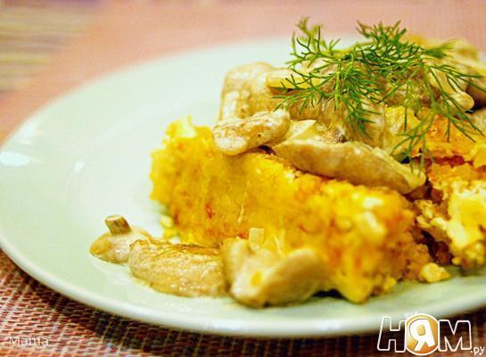 Рецепт Суфле из овощей под маслятами в сметане