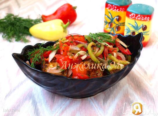 Рецепт Салат с баклажанами, перцем и помидорами
