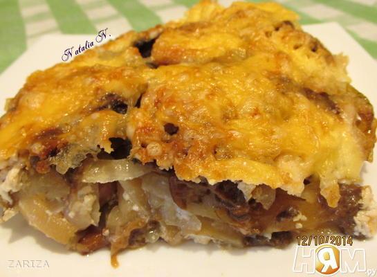 Рецепт Картофельная запеканка с сосисками и грибами