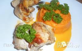 Кроличьи лапки с пюре из моркови и кольраби