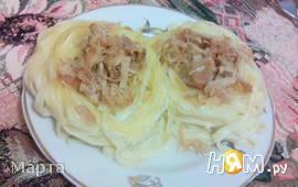 Спагетти-гнезда с мясом