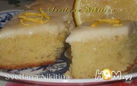 Лимонно-имбирный пирог с глазурью