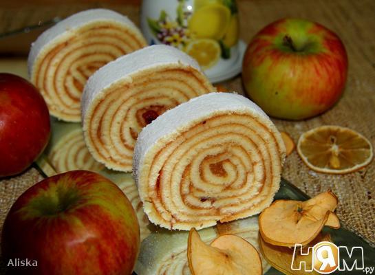 """Рецепт Рулет с яблоками """"Bolo de Rolo"""""""