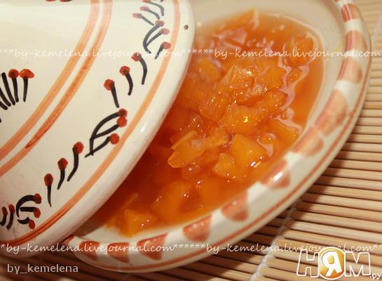 Рецепт Варенье из тыквы с мандаринами (вариант с имбирем)