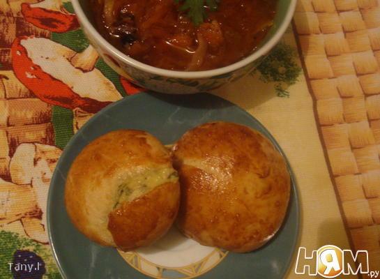 Рецепт Борщ с чесночными булочками