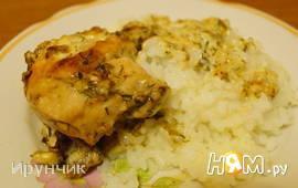 Курица в чесночно-майонезном соусе с рисом