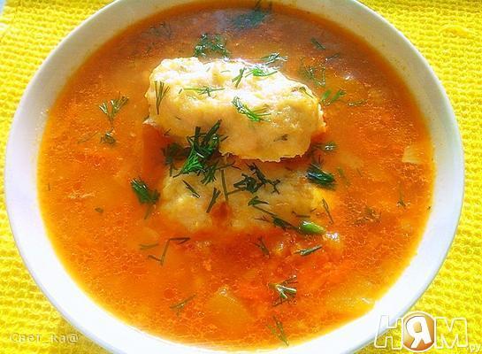 Рецепт Овощной суп с куриными кнелями