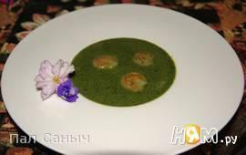 Зеленый крем-суп с креветками