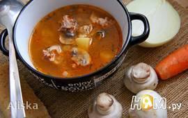 Швабский суп со свининой и перловкой