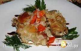 Запеченный цыпленок с рисом и корнеплодами