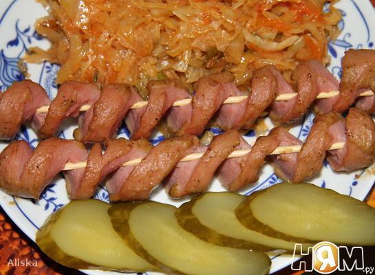Рецепт Спиральные сосиски в духовке