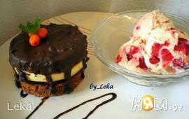 Шоколадно-вишневое пирожное + крем-брюле с вишнями