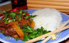 Куриная печень с овощами в китайском варианте
