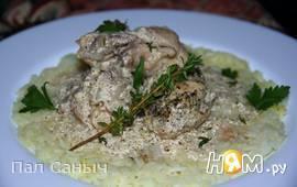 Цыпленок, запеченный в сметанно-горчичном соусе