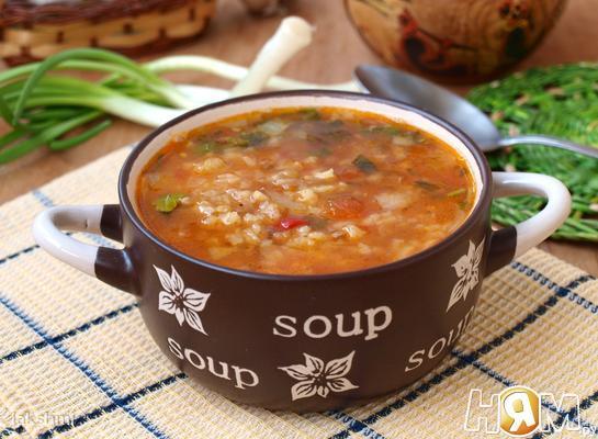 Рецепт Рисовый суп с чечевицей и томатами