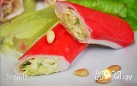 Крабовые палочки с сыром и авокадо