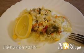 Треска запеченая с рисом и овощами