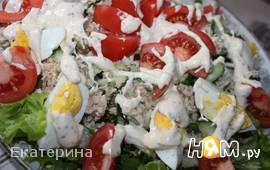Салат с курицей и горбушей