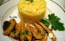 Бычьи яйца с рисом и винно-горчичным соусом