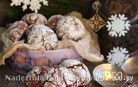 Шоколадное печенье с кракелюрами