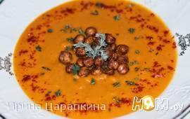 Морковный крем суп с имбирем и хрустящим нутом