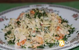 Спагетти в чесночно-сливочном соусе с креветками