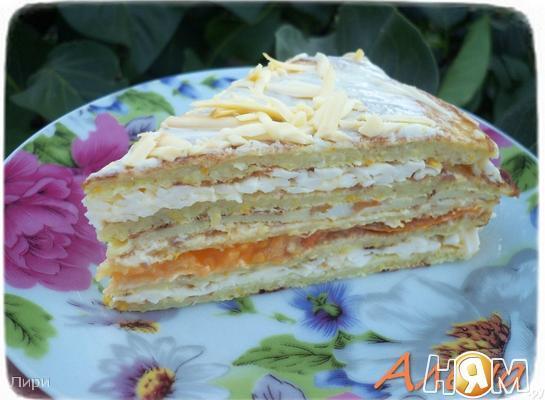 Кабачковый торт с плавленым сыром и омлетом