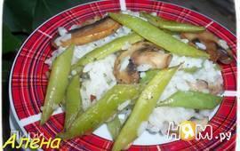 Рис с грибами и спаржевой фасолью