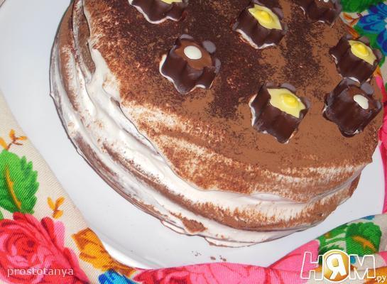 Торт кофейно-шоколадный с творожным кремом