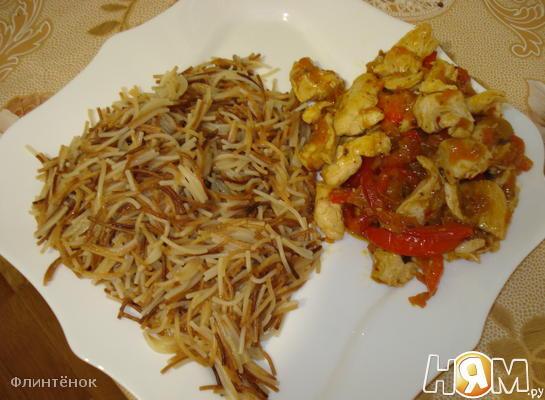 Куриная грудка с соевым соусом, мёдом и грибами