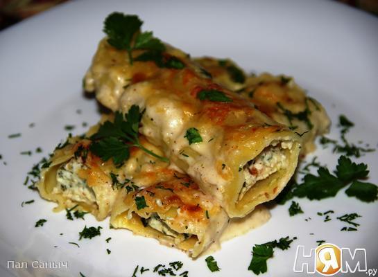 Рецепт Каннеллони с рикоттой, анчоусами и шпинатом