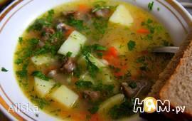 Сырный суп с куриными сердечками