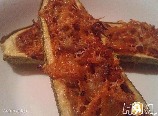 Рецепт Лодочки из кабачков, фаршированные овощами