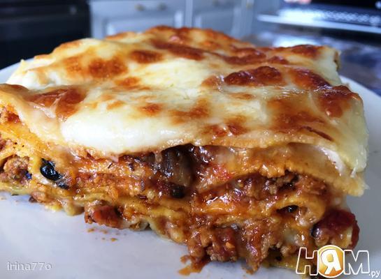 Рецепт Лазанья с куриным фаршем и грибами