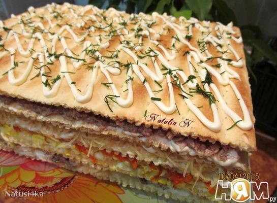 """Закусочный пирог из коржей """"Наполеон"""""""