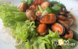 Мидии в соево- кунжутном соусе